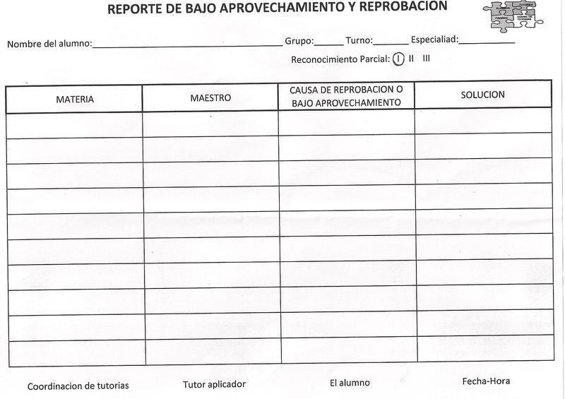 REPORTE DE BAJO APROVECHAMIENTO Y REPROBACION.